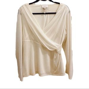 Laundry By Shelli Segal White Long Sleeve Top